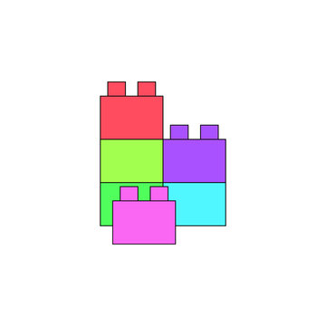 cartoon lego toy colored icon. Signs and symbols can be used for web, logo, mobile app, UI, UX