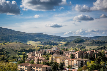Beautiful autumn landscape in Tuscany. Near San Gimignano, Tuscany, Italy