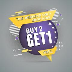 Sale banner template design.buy2 get1 free. cute design element