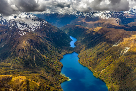New Zealand, South Island. Fiordland National Park. Lake Gunn and Lake Fergus, Earl Mountains on the left, Ailsa Mountains in the background