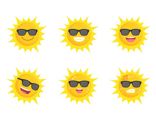 Sun wearing eyes glasses collection icon sign set summer concept, Suns flat symbol, object on a white background, Vector illustration, cartoon vector in flat design.