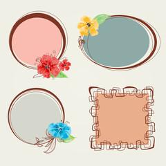 Fototapete - Frame set, floral decorations