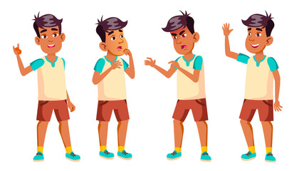 Arab, Muslim Boy Schoolboy Kid Poses Set Vector. High School Child. Secondary Education. Lecture. For Card, Advertisement, Greeting Design. Isolated Cartoon Illustration