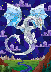 Illustration in stained glass style with light dragon on landscape and starry blue sky background
