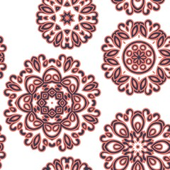Mandala pattern. Seamless background pattern in oriental style. Vector. Textile design, fabric swatch ,wrapping paper, surface.