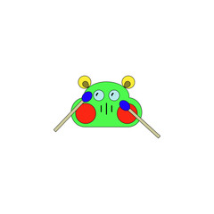 cartoon drum machine toy colored icon. Signs and symbols can be used for web, logo, mobile app, UI, UX