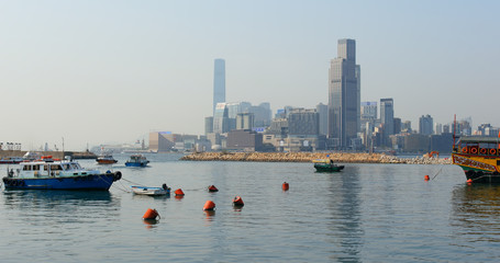 Hong Kong harbor side, typhoon shelter
