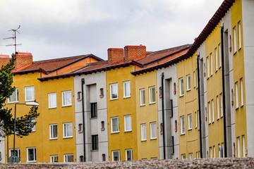 Stockholm, Sweden Apartment buildings in the Fruängen suburb.