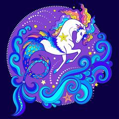 animal, illustration, design, sea, vector, cartoon, unicorn, drawing, water, beautiful, art, creature, decorative, cute, fantasy, mermaid, graphic, fish, sweet, symbol, ocean, happy, doodle, magic, fa