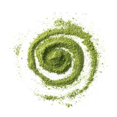 Abstract drawing with green Japanese Matcha tea powder