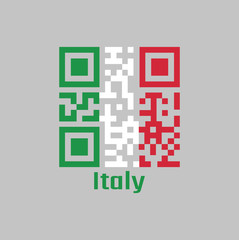 QR code set the color of Italy flag. It is A vertical tricolor of green white and red.