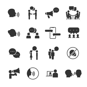Vector set of talking people icons.