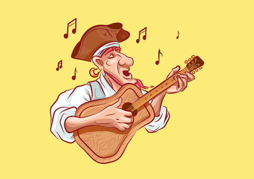 emoji sticker seaman captain plays guitar