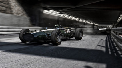old f1 racecar 3d render