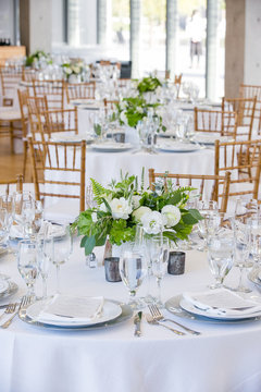wedding table set for fine dining at a fancy catered event - wedding table series