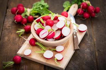 Fresh organic red radishes