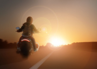 girl rides a motorcycle at sunset, traveling