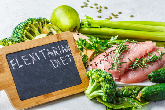 Flexitarian diet food background concept, top view.