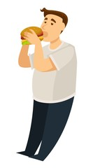 Overeating obesity man eating hamburger fat guy