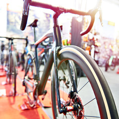 Racing bicycle in store