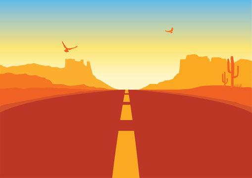 American road in desert landscape. Vector Arizona prairie background