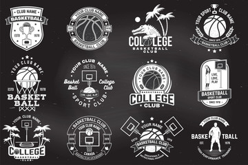 Set of basketball college club badge on the chalkboard. Vector. Concept for shirt, print, stamp or tee. Vintage typography design with crocodile and basketball ball silhouette.