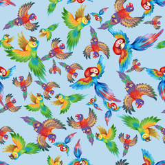 Funny colorful parrots, excellent for children. Seamless background pattern #2