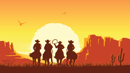 Cowboys riding horses at sunset. Vector prairie landscape with sun Wall mural