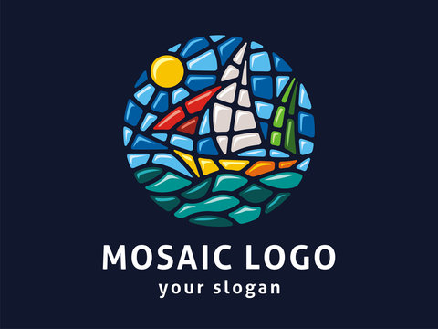 Vector logo template. Sign landscape in mosaic style.