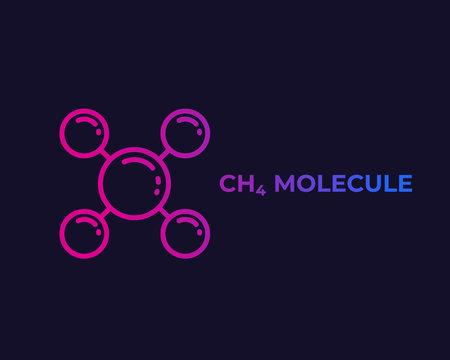 methane molecule icon, vector