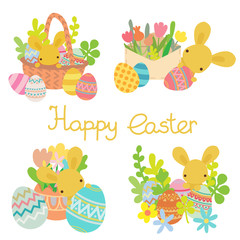 Vector flat rabbit with Easter eggs, flowers set