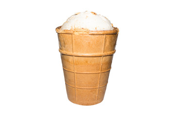 Cream ice cream in a waffle Cup on a white background.