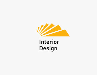 Logotype icon ladder yellow steps for interior design studio