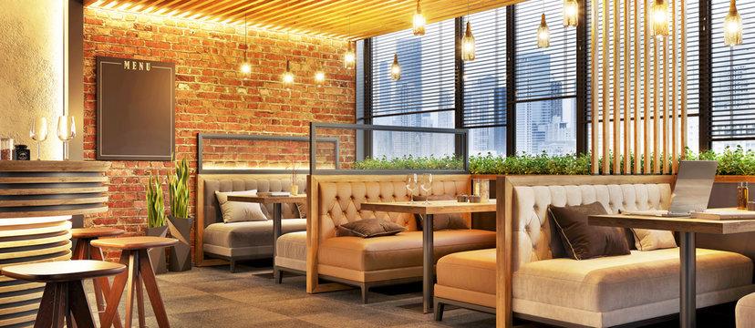 Modern cafe design interior with a brick wall. Loft design. Coffee shop, cafe.