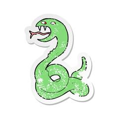retro distressed sticker of a cartoon hissing snake