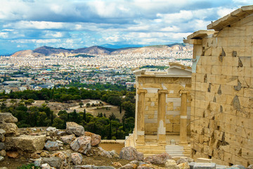Beautiful cityscape, view of the city and the sea above the point. Greece, Athens, Acropolis.