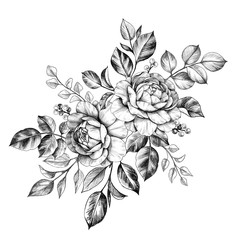 Hand drawn Floral Bunch with Roses