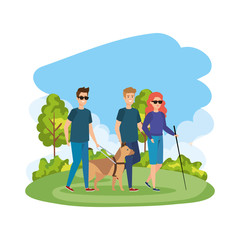 blind woman with walking stick and guide dog