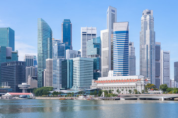 Marina Bay and Financial district with skyscrapers office business building, Singapore Fototapete