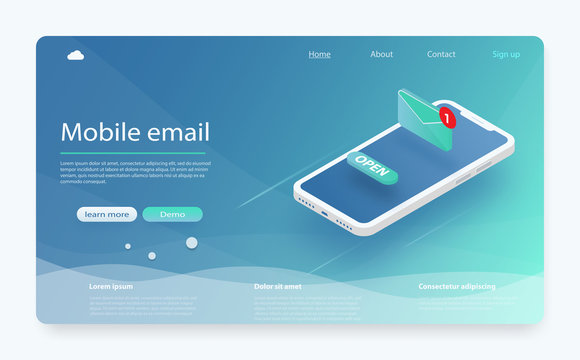 Email service isometric vector illustration. E-mail marketing concept, marketing research. New message on the smartphone screen.