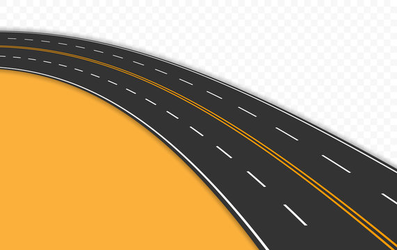 Curved road with markings. Vector illustration