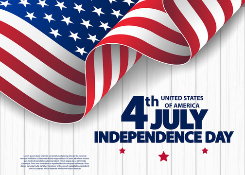 Happy 4th of July USA Independence Day greeting card with waving american national flag. Fourth of July. 4th of July holiday banner.