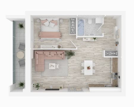 3D Home floor plan. Apartment interior isolated on white background. 3D render - Illustration