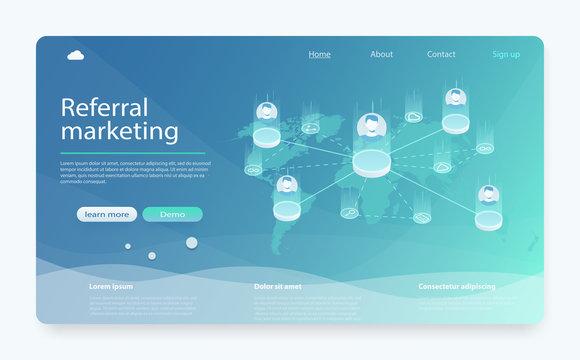 Referral, network marketing, affiliate marketing, online business concept.  Business partnership, referral program strategy.