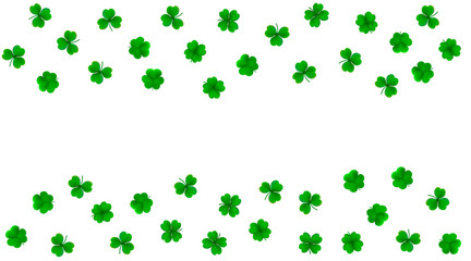 Vector background with detailed realistic three-leaf and four-leaf shamrocks. St. Patriсk's day design elements. Gradient mesh.