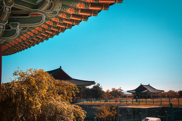 View of the Emperor's Donggung Palace and Wolji Pond in Gyeongju, South Korea. The Gyeongju Historic Areas are declared a UNESCO World Heritage Site Ref 976