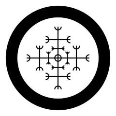 Helm of awe aegishjalmur or egishjalmur galdrastav icon black color vector in circle round illustration flat style image