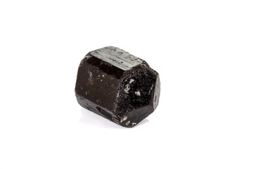 macro mineral stone schorl, black tourmaline on white background