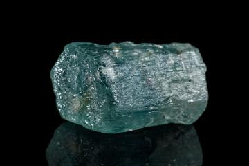 macro mineral stone aquamarine on a black background