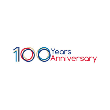 100 years anniversary design with simple design. Vector illustration isolated on white background.